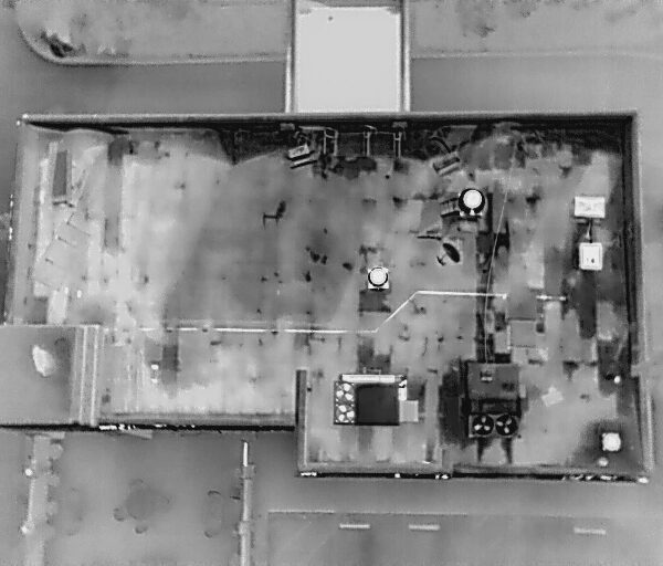 FLIR image of a roof. Black - hot